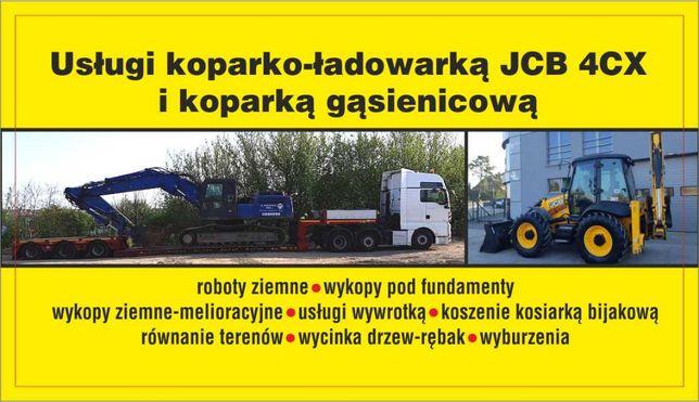 Usługi Koparko-Ładowarką JCB 4Cx i koparką gąsienicową, wywrotka.