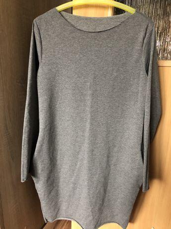 dresowa sukienka tunika kieszenie szara oversize hm zara