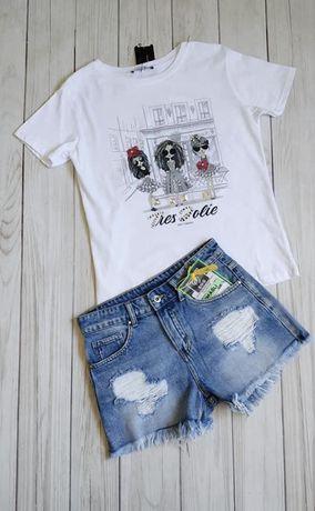 Mint T-shirt bluzka laleczki cyrkonie biala czarna S M L kokardki
