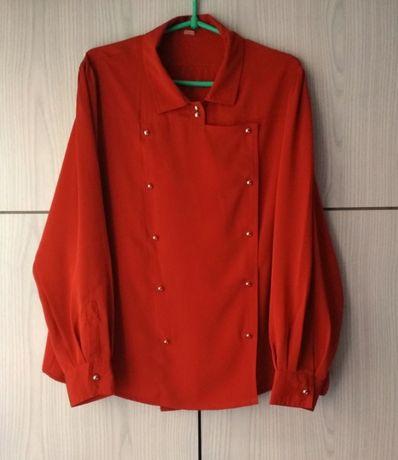 Ruda pomarańczowa koszula bluzka lata 70 vintage retro