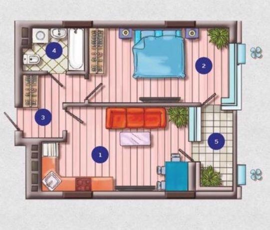 ЖК Французский квартал-2, Предславинская, 1комн, 41м2, 19этаж
