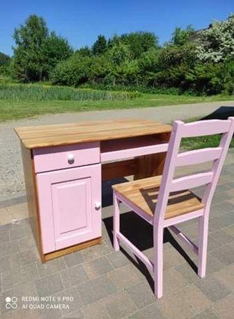 Biurko drewniane z krzesłem