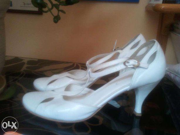 Buty białe Ryłko rozmiar 40, skóra