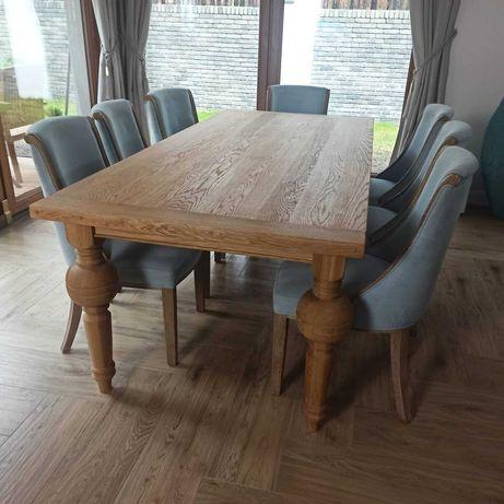 Stół Kasztelan drewniany dębowy lity dąb nogi toczone 220/100