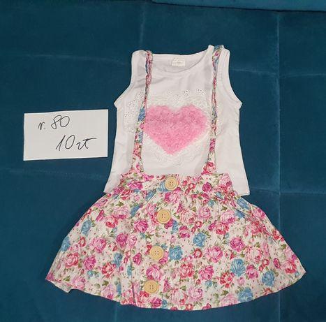 Zestaw komplet dla dziewczynki na lato rozmiar 80 spódniczka