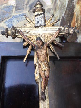 Cristo Madeira séc XIX Português 70cm altura Arte Sacra Popular