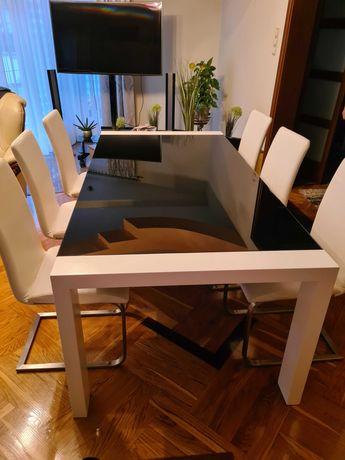 Stół Calligaris z sześcioma krzesłami