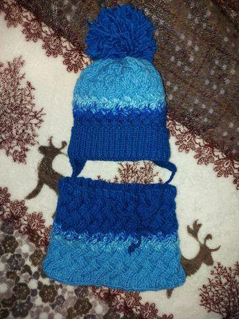 Детский набор шапка зимняя и хомут снуд голубая синяя