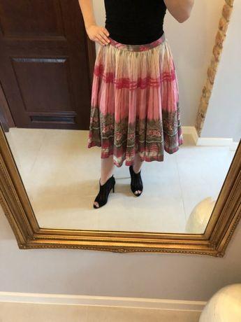 Spódnica różowa róż wzory M długa maxi