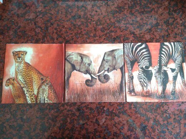 Quadros / Telas - Animais- África - feitas à mão - NOVAS -Baratíssimas