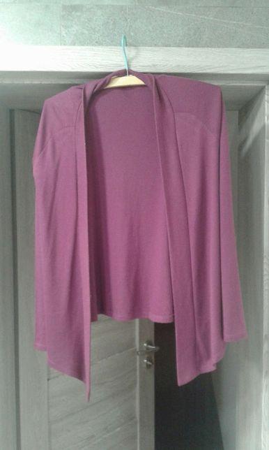 Fioletowa narzutka sweterek sweter klasyczny długi rękaw S/M