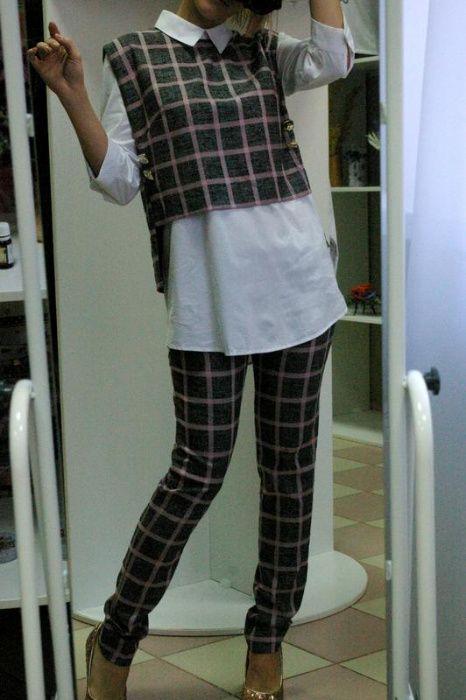 Оригинальный яркий стильный брючный костюм в крупную клетку Киев - изображение 1