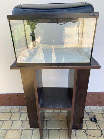 Akwarium 45 l. Z pokrywą i szafką + akcesoria