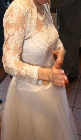 Suknia ślubna biała koronkowa klasyczna 38
