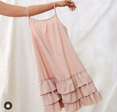 Nowa sukienka pudrowy róż ciążowa i zwykła uniwersalna