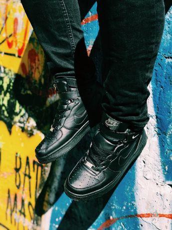 Кроссовки зима Найк Аир Форс черные Nike Air Force Black Winter
