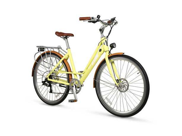 Rower elektryczny City Woman IML miejski damka żółty biały
