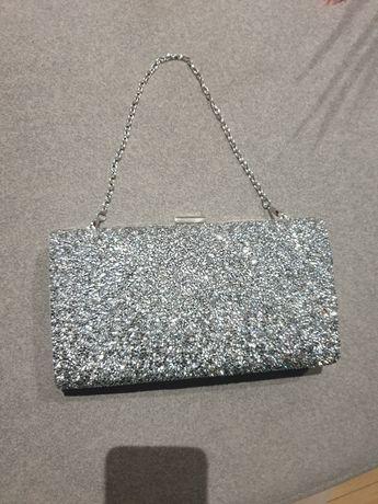 Piękna srebrna diamenciki torebka kopertowa wizytowa mieści telefon