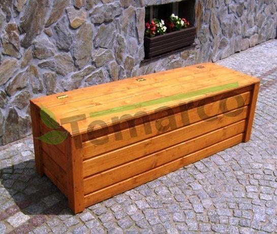 Kufer drewniany ogrodowy skrzynia drewniana narzędzia zabawki KOLORY