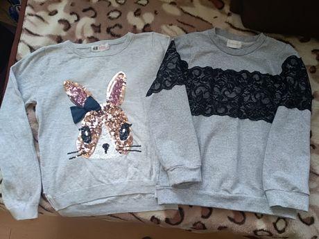 Zestaw sweterek H&M, bluza z koronką roz. 122
