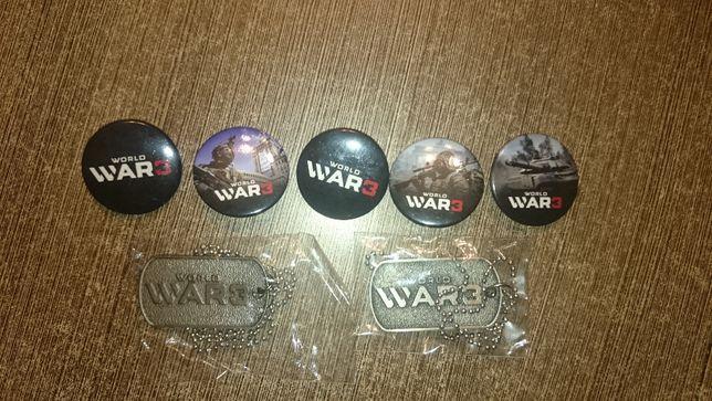 Nieśmiertelniki z gry PC World War 3 i przypinki NOWE