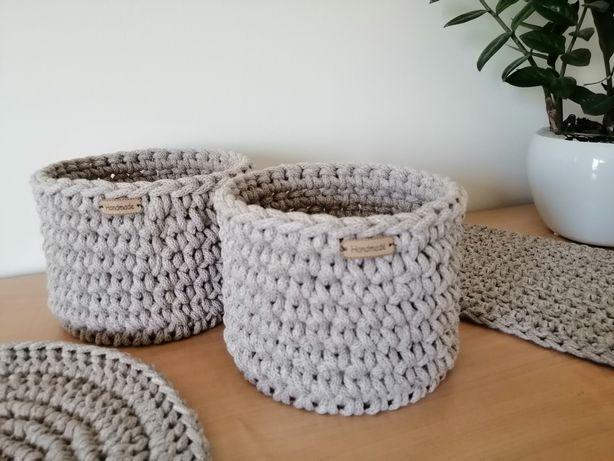 Koszyk, koszyczki, osłonki ze sznurka bawełnianego hand made boho