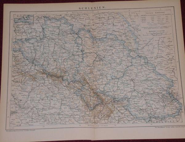 ŚLĄSK-SCHLESIEN (2) stara, oryginalna XIX w. mapa do wystroju wnętrza