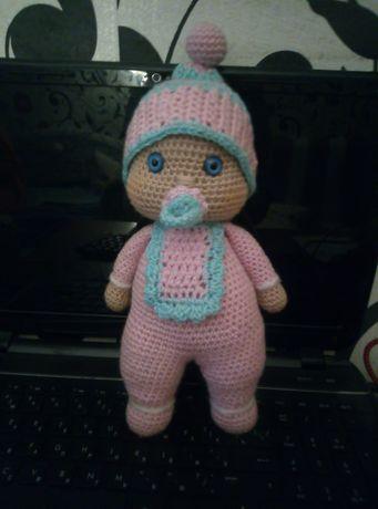 Вязаная кукла   пупс