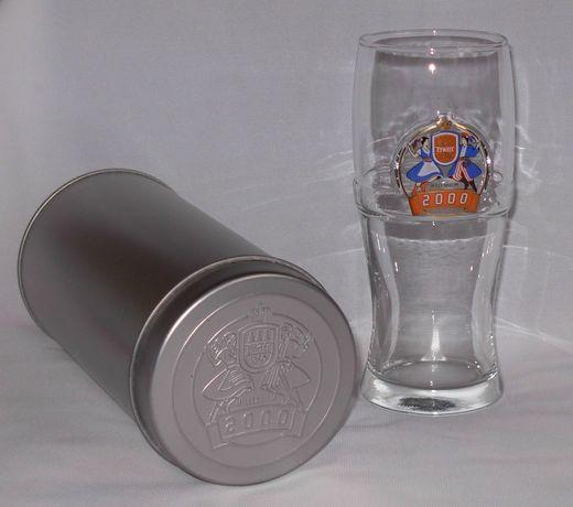 Szklanka milenijna piwa Żywiec w metalowej tubie