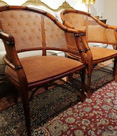 Par Bergères (Cadeirões Poltronas Cadeiras braços) Palhinha, Inglês