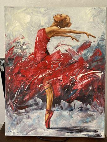 """Magnifico quadro a oleo """"Ballerina"""".  Bitcoin Dogecoin"""