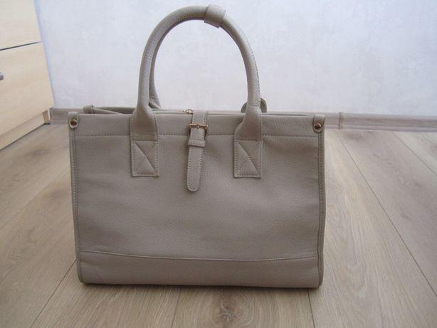 duża torba torebka skóra beżowa