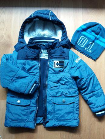 Kurtka zimowa na polarze firmy DOPO BOYS r. 110/116 + czapka gratis