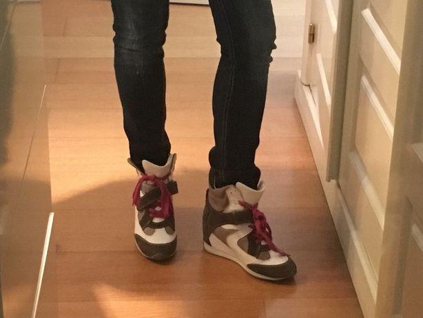 Sapatilhas/tenis com Cunha em pele gardenia exe shoes senhora