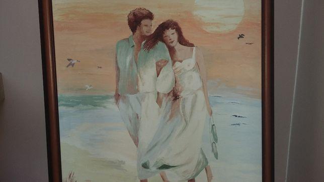 obraz olejny w drewnianej ramie postać kobiety mężczyzny