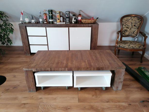 Regał i stolik kawowy drewniany
