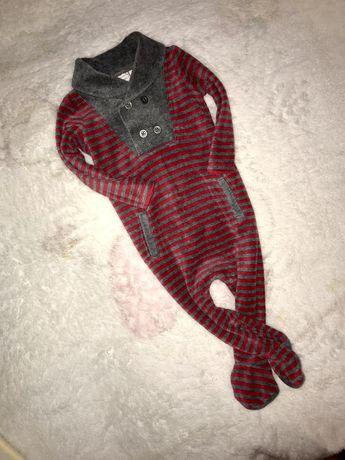 Тёплый велюровый нарядный махровый человечек 3-6 м
