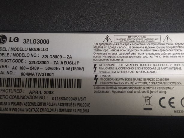TV LG32LG3000 para peças