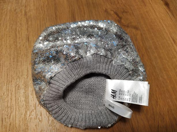92/104 Czapka h&m srebrne cekiny