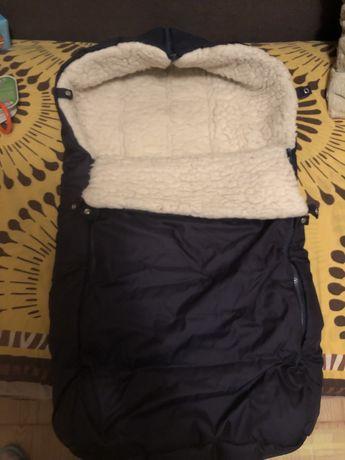 Теплый конверт футмуф в коляску на овчине