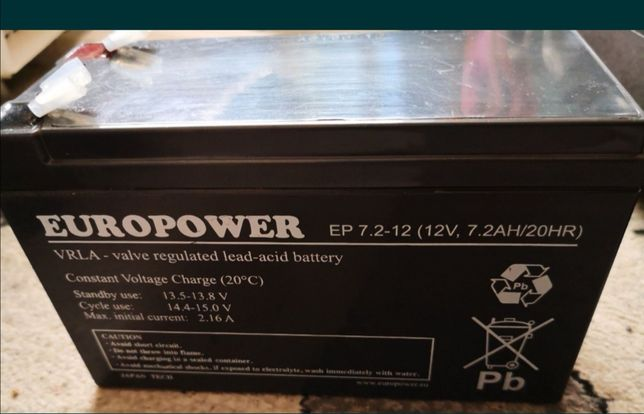 Akumulator EUROPOWER 12V 7,2AH