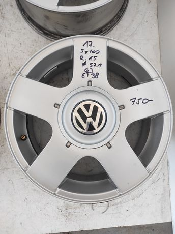 17. Felgi aluminiowe ORYGINAŁ VOLKSWAGEN GOLF IV POLO R 15 5x100 Ładne