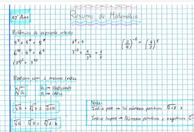resumos completos matemática 10º/11º/12º
