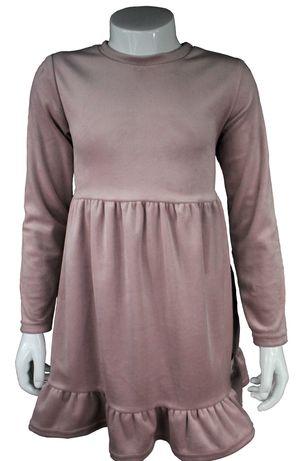 Sukienka pudrowy róż dziewczynka falbanki r. 98 - 116