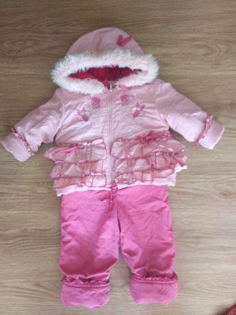 Продам зимний комбинезон на девочку ярко-розового цвета на овчине