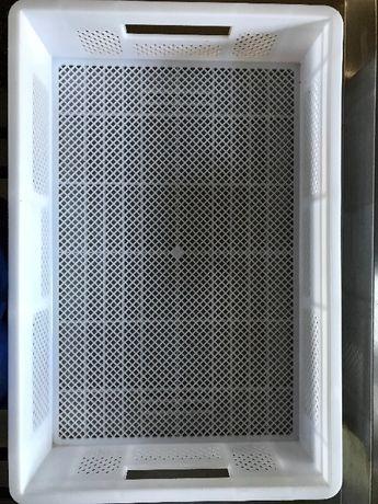 Caixas Pastelaria/Plástico-Paredes e fundo gradeados-Comp.60c
