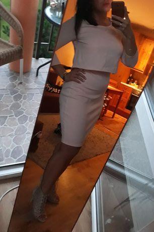 Sukienka pudrowy róż ołówkowa midi L 40