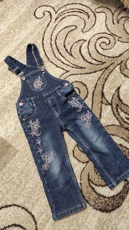 Зимний джинсовый полукомбинезон, джинсовый комбинизон штаны на флисе