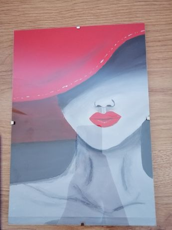 """Obraz recznie malowany """"Pani w kapeluszu"""""""