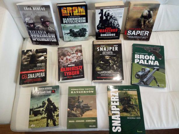 Książki Grom, Snajper, Cel snajpera, Saper i inne o tematyce wojskowej